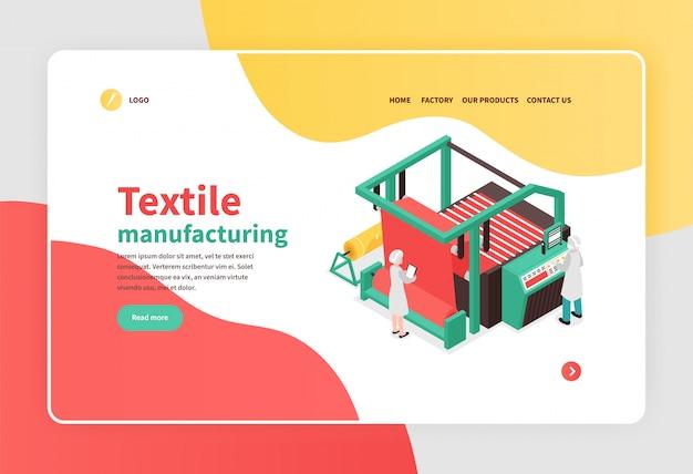 Banner isométrico colorido com conceito de equipamento de fábrica têxtil 3d