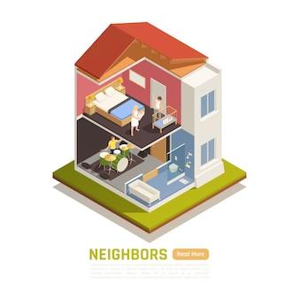 Banner isométrico com construção com vizinhos