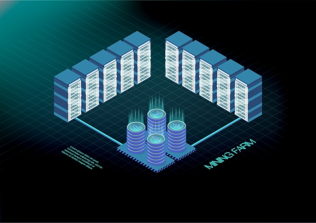 Banner isométrico com fazenda de mineração de bitcoin, conceito de mineração de criptomoeda, financeiro 3d isométrico.