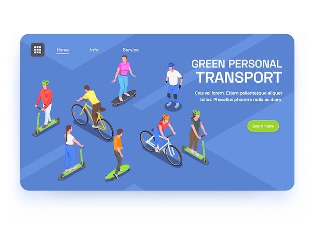 Banner isométrico com pessoas usando transporte pessoal ecológico 3d