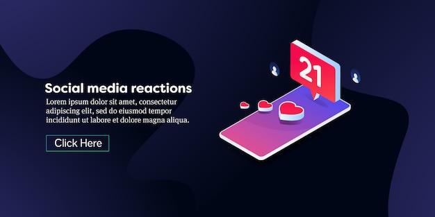 Banner isométrico conceitual de engajamento de mídia social