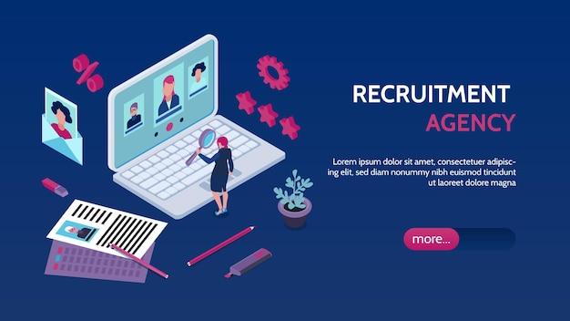 Banner isométrico da página de destino da agência de empregos de recrutamento