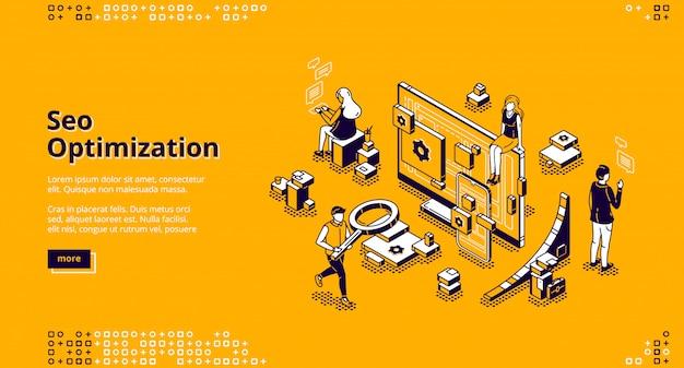 Banner isométrico da página de destino da otimização de seo