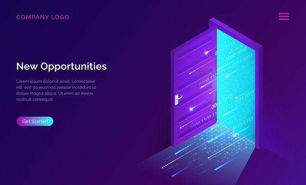 Banner isométrico da página de destino de novas oportunidades
