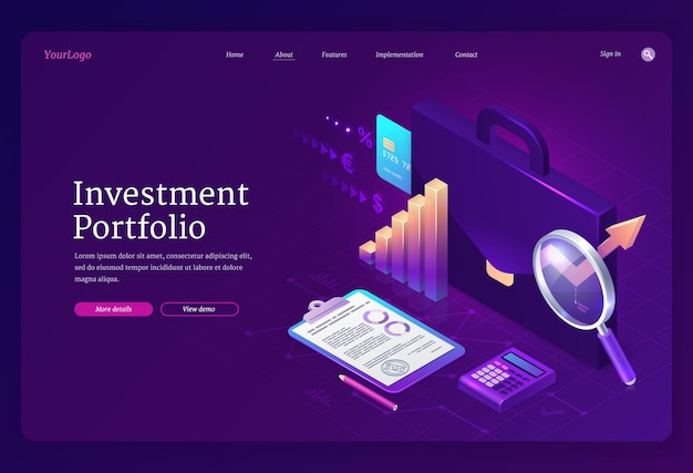 Banner isométrico da página de destino do portfólio de investimentos