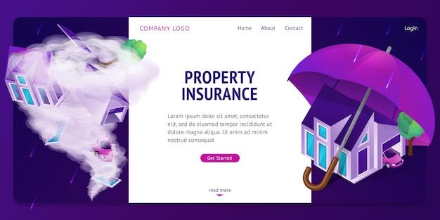 Banner isométrico da página de destino do seguro de propriedade