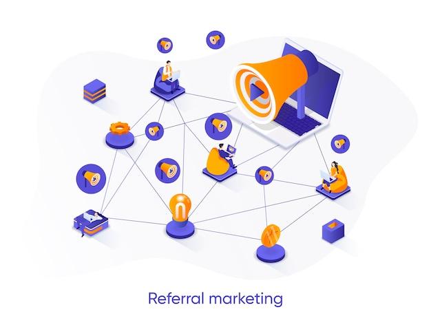 Banner isométrico da web de marketing de referência.