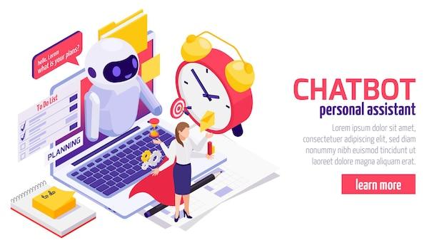 Banner isométrico da web do chatbot messenger com uma mulher de negócios usando o assistente de planejamento eletrônico de tempo