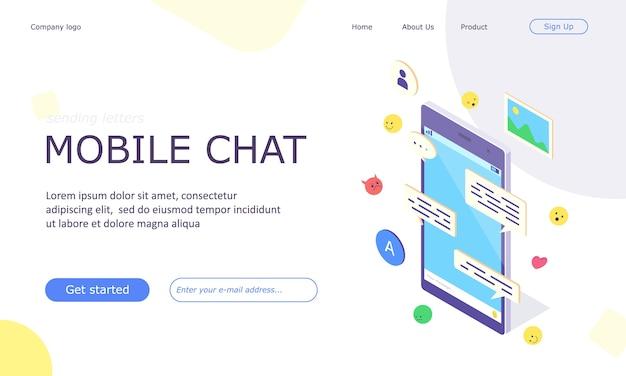 Banner isométrico de aplicativo de bate-papo de mídia social móvel