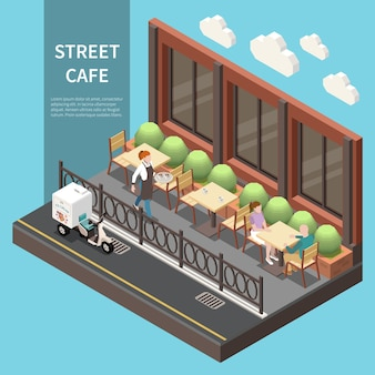 Banner isométrico de café de rua