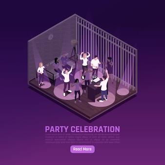 Banner isométrico de celebração de festa com pessoas dançando e dj