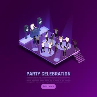 Banner isométrico de celebração de festa