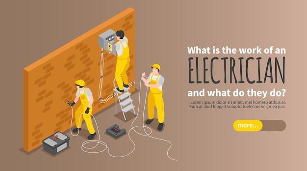 Banner isométrico de eletricista com equipamento e serviço