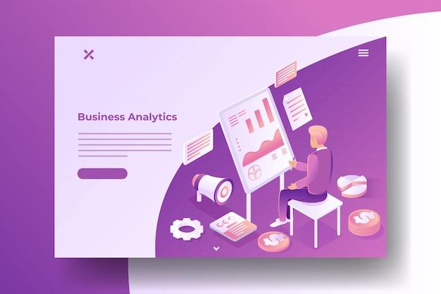 Banner isométrico de estatísticas de negócios