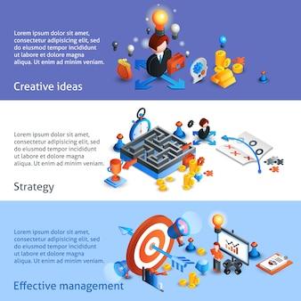 Banner isométrico de estratégia de negócios