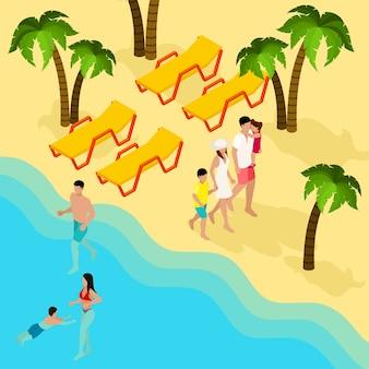 Banner isométrico de férias de praia tropical de família