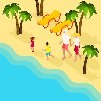 Banner isométrico de férias em família de pessoas aposentadas