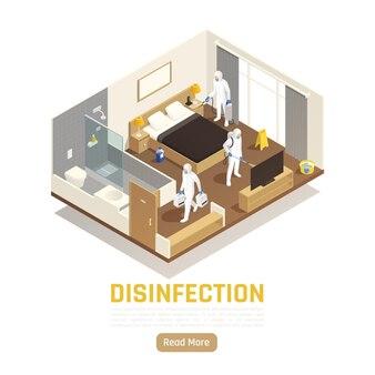 Banner isométrico de higienização com equipe de desinfecção limpando a sala