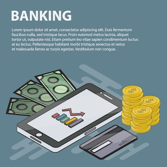 Banner isométrico de linha fina de bancos para websites. conceito de negócio de marketing, economia, finanças e e-commerce. conjunto de objetos e elementos bancários isométricos.