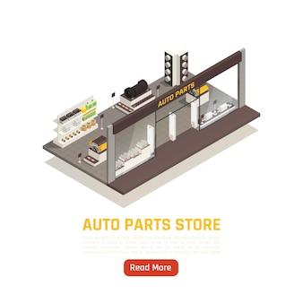 Banner isométrico de loja de peças automotivas