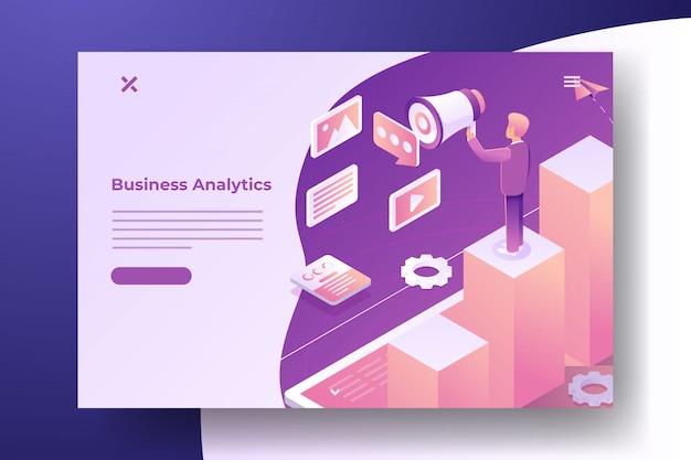 Banner isométrico de marketing digital