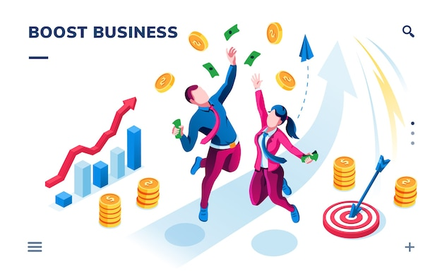 Banner isométrico de negócios para aplicativo de smartphone