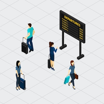 Banner isométrico de passageiros do aeroporto municipal