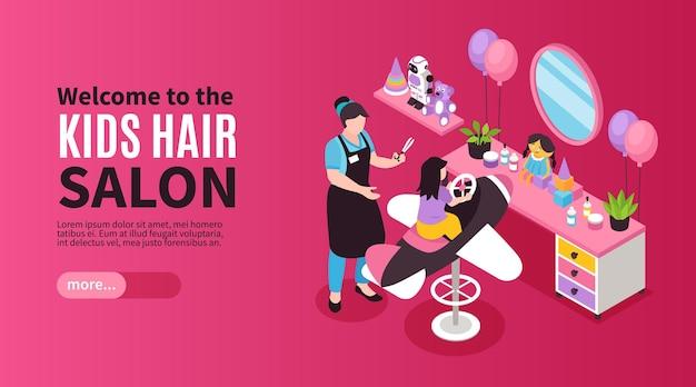Banner isométrico de salão de beleza com ilustração de crianças barbeiro