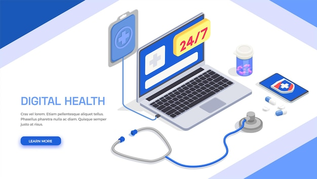 Banner isométrico de saúde digital de telemedicina
