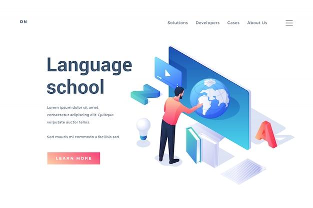 Banner isométrico de site para promoção de escola de idiomas com homens usando app com planeta enquanto aprende idioma isolado no branco