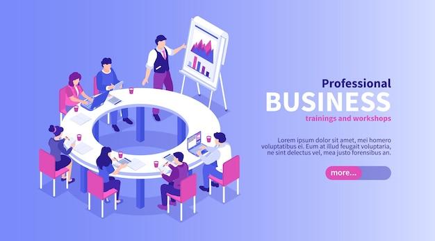 Banner isométrico de treinamento de negócios com botão deslizante de texto editável e grupo de trabalhadores na reunião