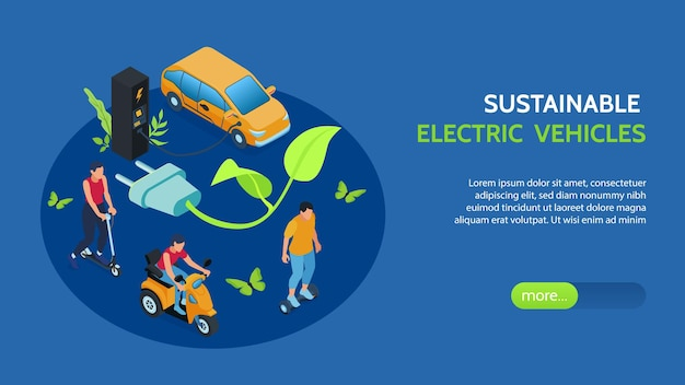 Banner isométrico de veículos elétricos sustentáveis