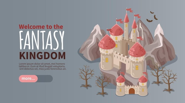 Banner isométrico do reino da fantasia com antigo castelo