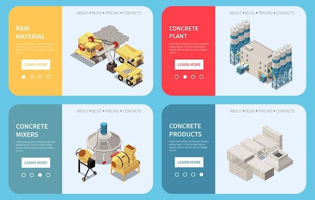 Banner isométrico horizontal de produção de cimento de concreto definir páginas de destino