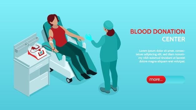 Banner isométrico horizontal do centro de doação de sangue com enfermeira instruindo o doador na cadeira reclinável