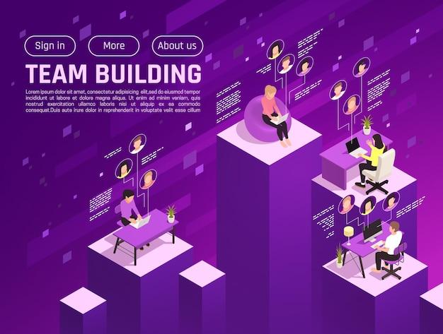 Banner isométrico online de team building virtual
