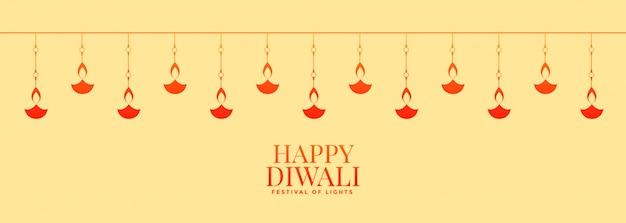 Banner largo lindo feliz diwali com decoração diya