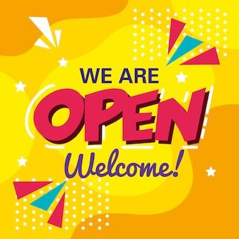 Banner, letras estamos abertos, design de boas-vindas