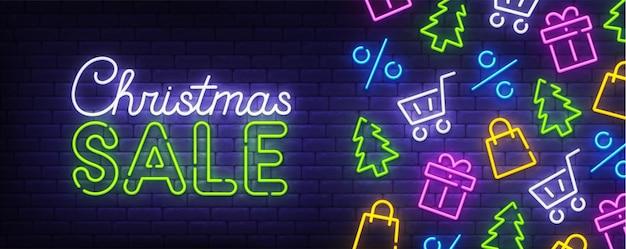 Banner letreiro de néon de venda de natal