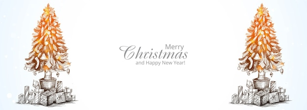 Banner lindo cartão com árvore de natal