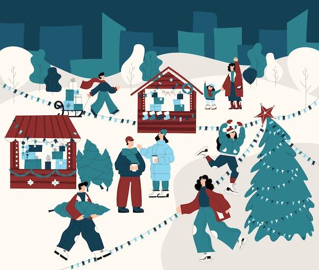 Banner lindo e detalhado da feira de natal com atividades de inverno e férias