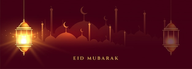 Banner lindo eid mubarak com lanterna islâmica brilhante