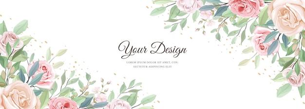 Banner lindo floral e modelo de folhas