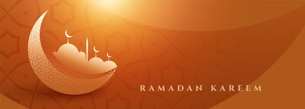 Banner lindo ramadan kareem com lua e mesquita