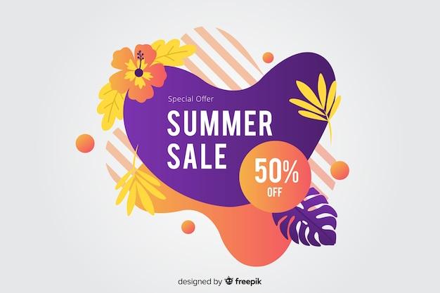 Banner líquido abstrato de venda de verão