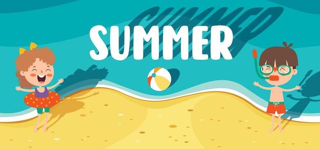 Banner liso colorido de verão