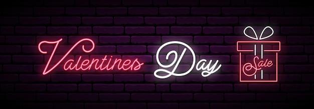 Banner longo de néon de venda de dia dos namorados