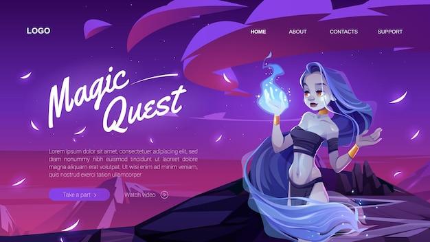 Banner mágico com garota mística na floresta à noite