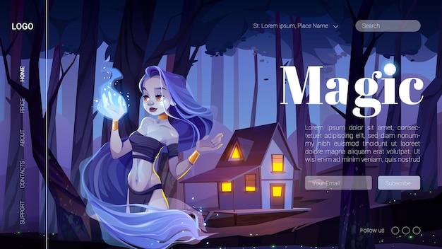 Banner mágico com garota mística segurar fogo azul por lado na floresta à noite.