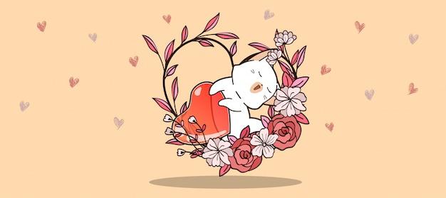 Banner mão desenhada kawaii gato e geléia coração dentro de videira de coração